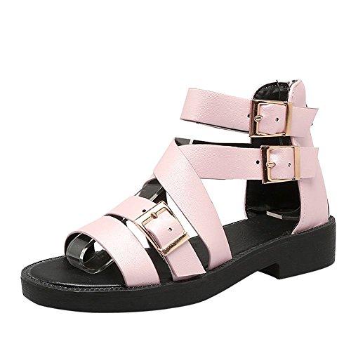 Mee Shoes Damen flach Reißverschluss open toe Sandalen Pink