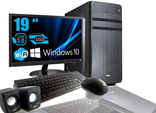 PC Desktop Intel Quad Core 2.0GHZ Windows 10 Profesional 64 bit Case ATX/RAM 8GB/HD 1TB/WiFi/HDMI DVI VGA Power 500W + Monitor 19' LED VGA Teclado Y Mouse USB Cases Audio Completo