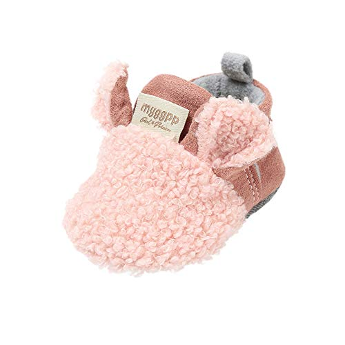 Blaward Baby Mädchen Jungen Einstellbare Hausschuhe Wolle Slipper Kleine Mokassins Anti-Slip Weiche Sohle Warme Winter Krippe Booties Schuhe