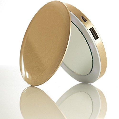 Hyper 44463 Pearl Mini-Kompaktspiegel-Akku, 1600 mAh, goldfarben