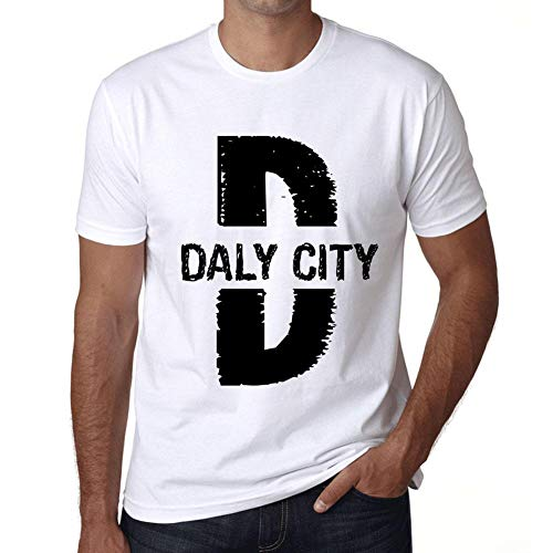 Herren Tee Männer Vintage T shirt Letter D Countries and Cities DALY CITY Weiß