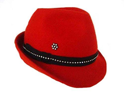 Damen Trachtenhut rot Filzhut mit Strass perfekt zum Dirndl Gr.54