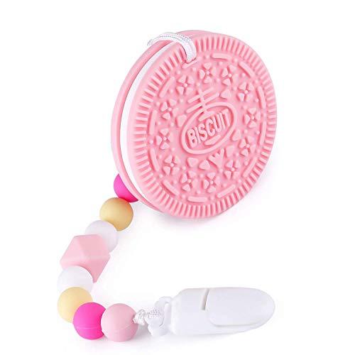 Baby-Beißring, YISSCEN BPA-freies Silikon-Keks-Beißring mit perlenbesetztem Schnuller-Cliphalter für Kleinkinder und Kleinkinder, natürliches Bio-Silikon-Beißring für die Tiefkühltruhe (Pink)