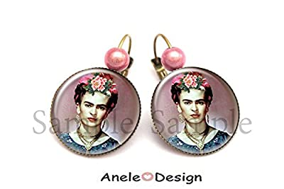 Boucles d'oreilles Frida Kahlo Fleurs femme cabochon violet rose marron