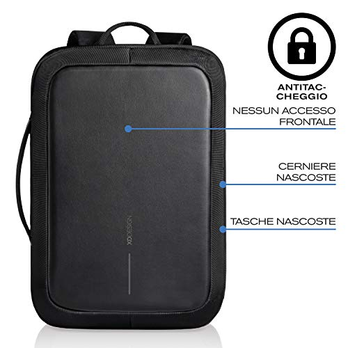 XD Design Bobby Bizz Zaino/24Ore Antifurto Nero Portatile con porta USB (Unisex)