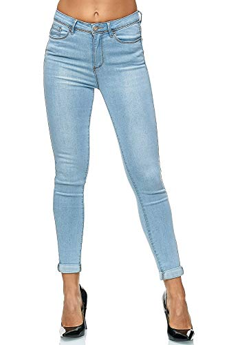 Elara Damen Stretch Hose | Butt Lift Effekt | Skinny Push Up Jeans | Elastischer Bund | Slim Fit | Chunkyrayan 6864-Lt.Blue 34