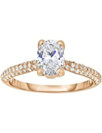 Silvernshine 1.17 Cttw Oval Cubic Zirconia Diamond 14k Rose Gold Wedding Engagement/Anniversary Ring