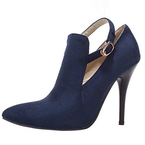 TAOFFEN Damen Stiletto Schuhe Spitze Toe Pumps Mit Schnalle Blau