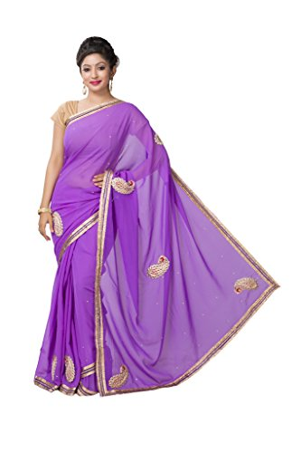 ISHIN Georgette Purple Printed Saree  available at amazon for Rs.499
