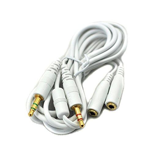 2 Stecker 2 Jacks Mikrofon Audio Verlängerungskabel 3,5 mm Kabel für Computerspiel Kopfhörer Headset 150cm Weiß