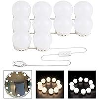 Lumiere Coiffeuse, Lampe de Coiffeuse LED, Hollywood Style Vanity Lumiere Miroir avec USB Powered 10 Dimmable Ampoule,Kit de Lumière pour Coiffeuse Miroir,Maquillage, Salle de Bain(2 Couleur)