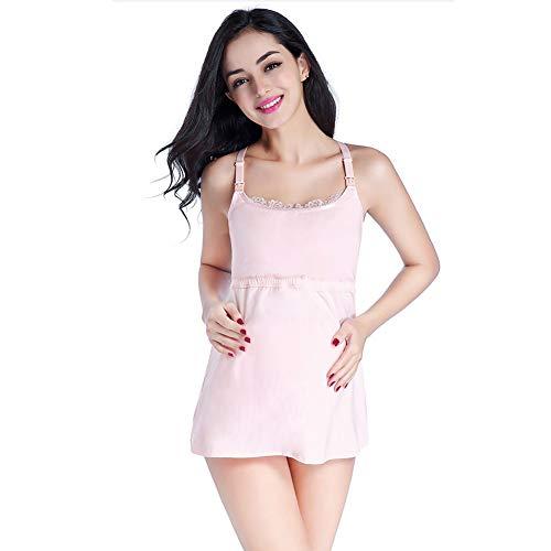 Frauen Nahtlose Top Mutterschaft Pflege Baumwolle V-Ausschnitt Sling Tank Top Kleid schwanger gebaut in BH Nachthemd zum Stillen gepolsterte drahtlose kostenlose BHS schlafen -