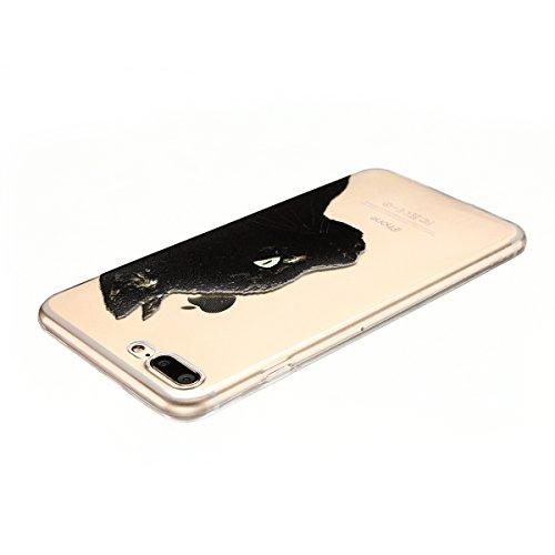 Cover iPhone 7 plus Custodia iPhone 7 plus Silicone Anfire Morbido Flessibile TPU Gel Case Cover per Apple iPhone 7 plus (5.5 Pollici) Ultra Sottile Clear Trasparente 3D Copertura Antiurto Bumper Prot Gatto