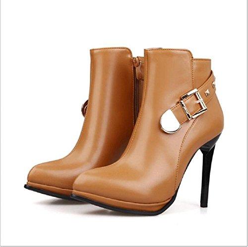Punta Martin stivali tacchi alti fibbia della cintura con belle scarpe yellow