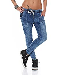 3888 Fashion4Young Damen Jeans Hose Boyfriend Haremsjeans Haremsstyle Röhre Damenjeans pants