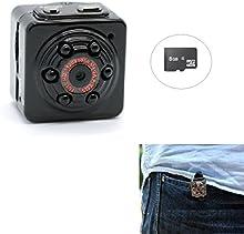 PANNOVO Mini cámara espía oculta Con 8GB Tarjeta, Deportes de mini cámara de vídeo DV HD 1080P 12.0 mp Dash DVR cámara Detección de Movimiento con infrarrojos de visión nocturna, cámara de PC