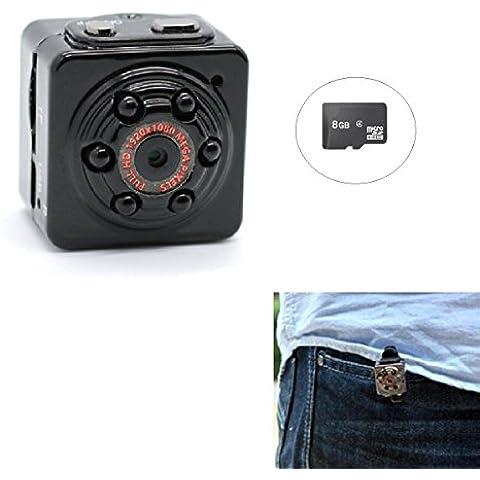 PANNOVO Mini cámara espía oculta Con 8GB Tarjeta, Deportes de mini cámara de vídeo DV HD 1080P 12.0 mp Dash DVR cámara Detección de Movimiento con infrarrojos de visión nocturna, cámara de