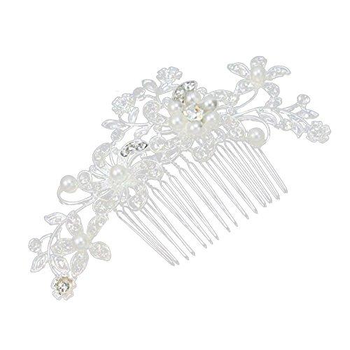 Contever® Joyas Pelo Pasador Tocado para Cabello con Cristales y Perlas Apropiada para Fiesta de Boda de Novia Dama de Honor