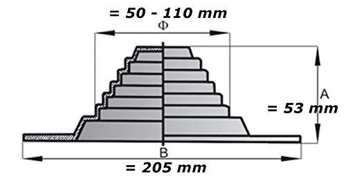 Caoutchouc Bride pour toit purge aération–Système DN 50–110