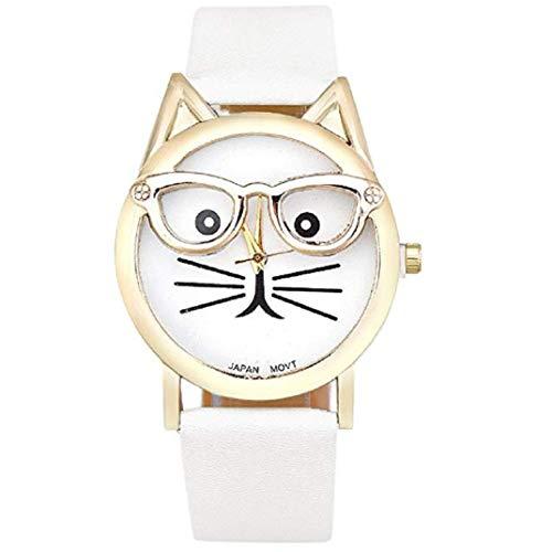 Moeavan Mode Damen Armbanduhr, Niedliche Brille Katze Form Zifferblat Analoge Quarzuhr Mit Leder Armband (Weiß)