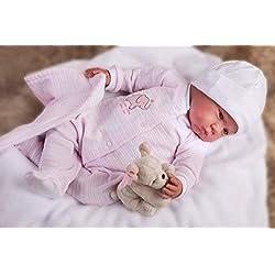 MUÑECAS ANTONIO JUAN poupée Reborn 55cm Pyjama Rose avec Couverture et Peluche Multicolore (8151)