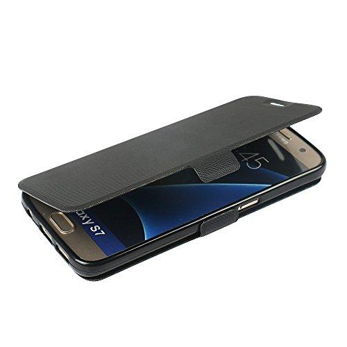 Samsung Galaxy S7 Hülle, MTRONX Case Cover Schutzhülle Tasche Etui Klapphülle Magnetisch PU Leder Weich TPU Folio Flip Ständer für Samsung Galaxy S7 - Schwarz(MS-BK)