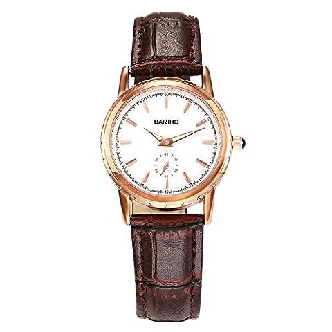 Hongboom Marron véritable de bande de cuir montre bracelet étanche à 30m pour femme décontracté Business Quartz Analogique
