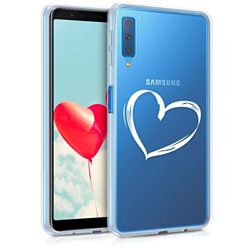 kwmobile Samsung Galaxy A7 (2018) Hülle - Handyhülle für Samsung Galaxy A7 (2018) - Handy Case in Weiß Transparent