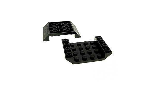 2x Lego System negativ Dach Stein schwarz 6x4 Schrägstein 45° Ziegel Rumpf 30283