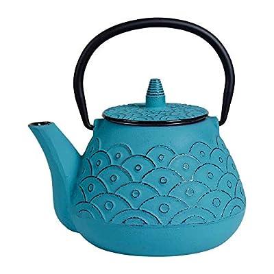 SEMA - Théière fonte Vagues Haute Turquoise avec anse noire et filtre 1L
