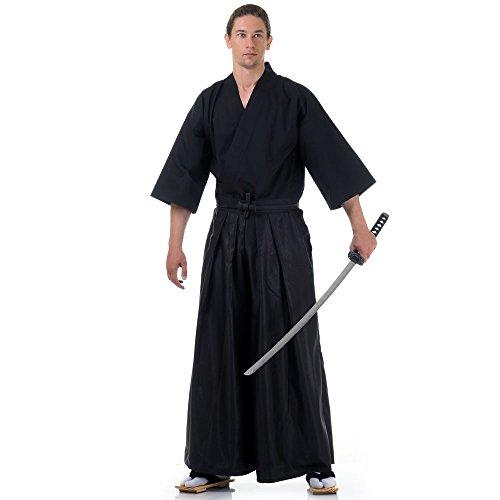 Princess of Asia Japan Samurai Iaido Outfit Set Kendo Gi Kimono & Hakama Hose (Schwarz & Schwarz) (Un Kostüm Japan)