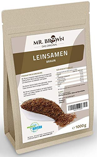 Mr. Brown Leinsamen braun 1 kg | 1000 g | zum Kochen und Backen | Rohkostqualität | abgefüllt in Deutschland | Premium Qualität | ohne Zusätze - ohne Konservierungsmittel -