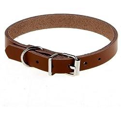 Collar Cuero Ajustable Color Marron para Perro Mascotas Talla M