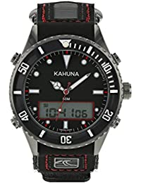 KAHUNA MENS BLACK DIAL SPORTS STYLE NYLON / PU RIP TAPE STRAP WATCH WITH 50 METERS WATER RESISTANT - K5V-0010G