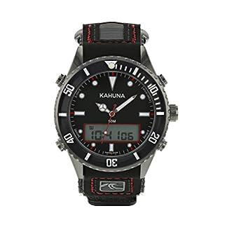 Kahuna K5V-0010G – Reloj con esfera negra y correa estriada de nailon y poliuretano con cierre de velcro para hombre, sumergible hasta 50m, estilo deportivo
