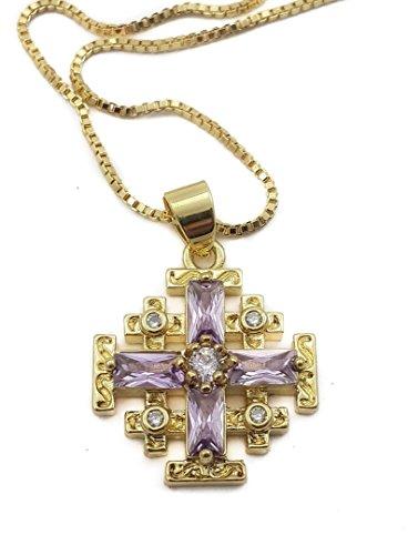 Chapado en oro colgante Cruz de Jerusalén con Color Zafiro Rubí y fiesta