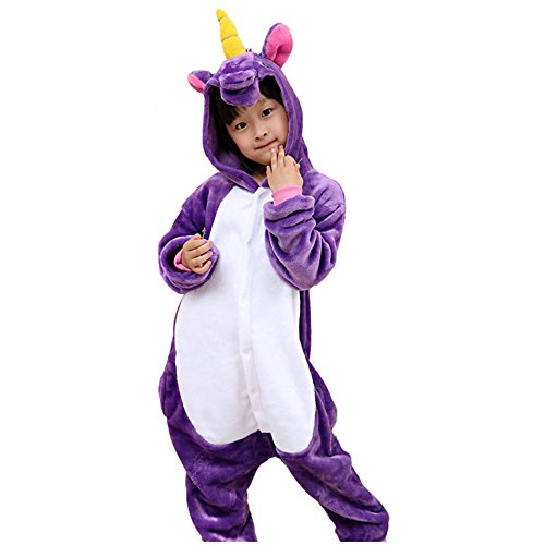 Kostüm Mit Flanell - kinder einhorn pyjama, weiche flanell tier strampler kostüm mit tasche für kinder im alter von vier bis zehn jahren geburtstagsgeschenk (6Y(fit height 105-115cm), Purple unicorn pajamas)