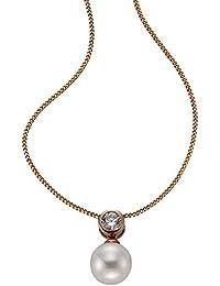 ZEEme Damen Halskette 925 Sterling Silber Muschel Zirkonia 45.00 cm weiß 500244749RV