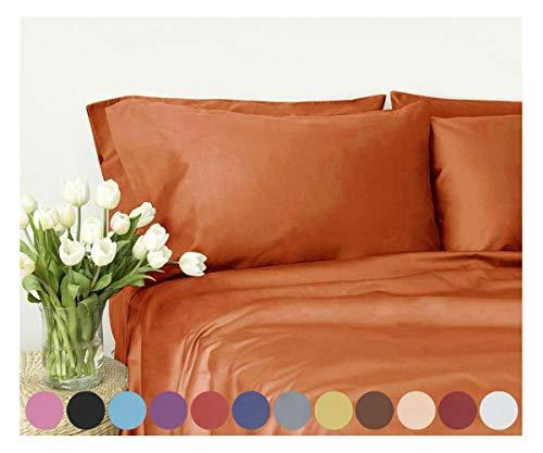 Swan Komfort PREMIER 1800Serie 4Twin Full Queen King California King Größen deep Pocket Luxus Bed Sheet Set knitterfrei, Mikrofaser, Orange, Twin (König Cotton Bed Sheet Sets)