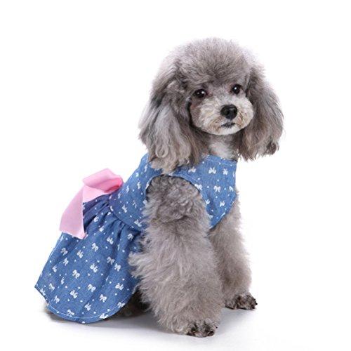UEETEK Hundekleid Rock stilvolle Bowknot Muster Hundeweste Hemden Haustier Sommer Kleidung für kleine Hunde, Größe M (Bowtie)
