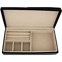 Mele para mujer - para niñas Classic cuero sintético en color negro de viaje joyas y caja joyero