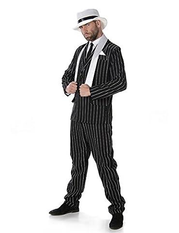 Gangster Boss Mens Fancy Dress 20s Mafia Pinstripe Anzug Erwachsene 1920er Jahre (Nero Gessato Camicia)