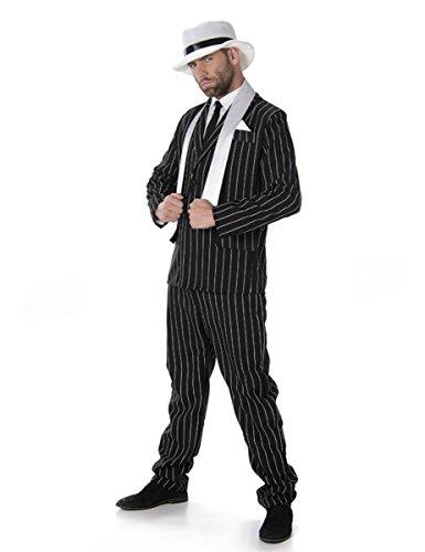 Karnival Costumes Gangster Boss Mens Fancy Dress 20s Mafia Pinstripe Anzug Erwachsene 1920er Jahre Kostüm (Mafia Anzug Kostüme)