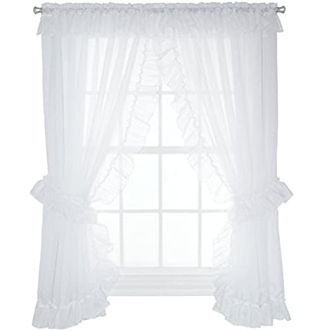 Ellis cortina Jessica Sheer de volantes globo Shade, Blanco, 100 x 54 Tiebacks