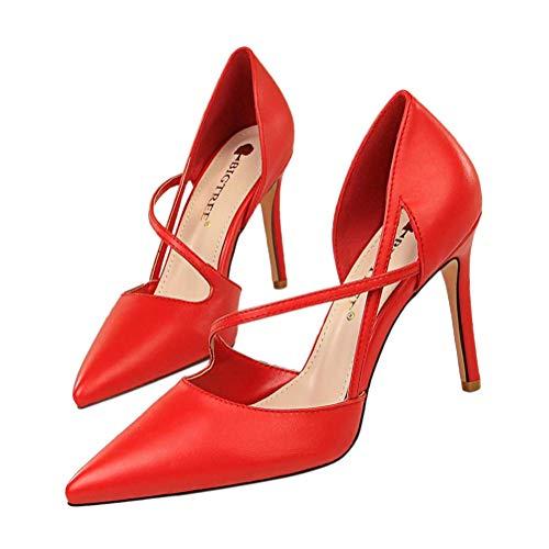 Minetom Damen Frau High Heels Bequeme Sandaletten Sommer Sandalen Absatzschuhe Sexy Schuhe Partyschuhe Offene Sommerschuhe 34-40 Sommerschuhe Für Modebewusste Frau A Rot 35 EU Sexy Sandale