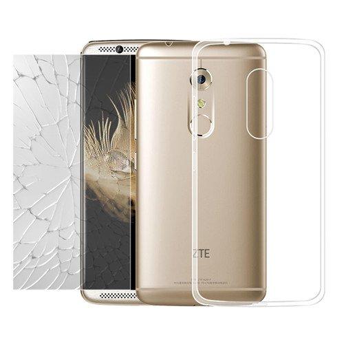 betterfon | TPU Case Silikon Hülle Schutz Cover Transparent mit Panzerglas 9H Schutzfolie Glasfolie Schutzhülle & Glasfolie als Set für ZTE Axon 7 mini