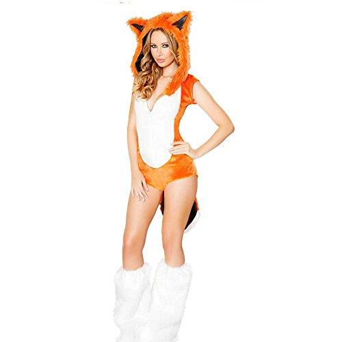 GGTBOUTIQUE Orange mit tiefem V-Ausschnitt Furry Fuchs-Kostüm-Abendkleid-Halloween-Abendkleid -