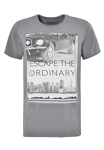 SUBLEVEL Herren Print T-Shirt - Escape | Basic Shirt mit Aufdruck im Vintage Look middle-grey