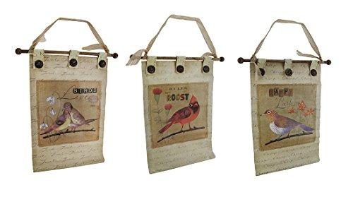 3PC. Leinwand Botanical Vögel Wand Aufhänge-Set W/Knöpfe