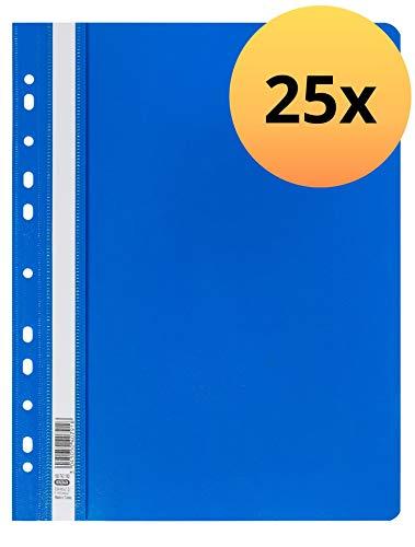 ELBA 100742150 Schnellhefter 25er Pack A4 mit 11-fach Lochung zum Abheften aus Kunststoff für ca. 225 DIN A4-Blätter in blau